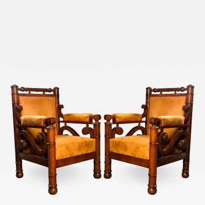 A Highly Unusual Pair of Biedermeier Armchairs