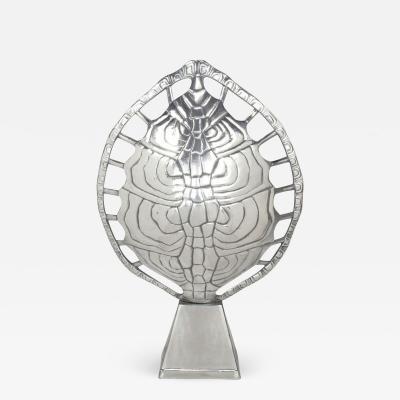 Arthur Court Polished Aluminum Tortoise Shell Lamp USA c 1970s