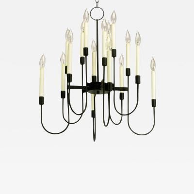 Lightolier Lightolier Sixteen Arm Black Lacquer Chandelier