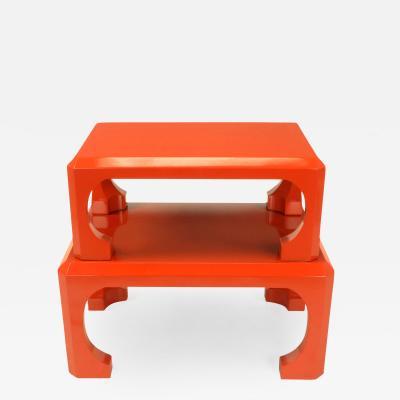Bert England Pair Cinnabar Red Asian Modern Stacking Tables Bert England For Baker c 1980s