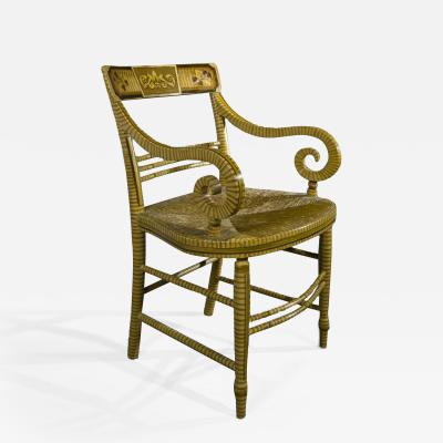 Paint decorated and Gilded Fancy Armchair about 1816