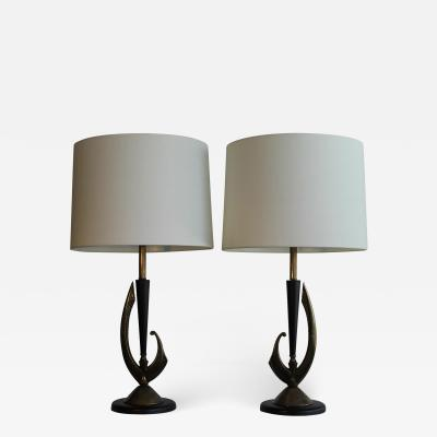 Rembrandt Lamp Company Pair Of Sculptural Mid Century Modern Table Lamps