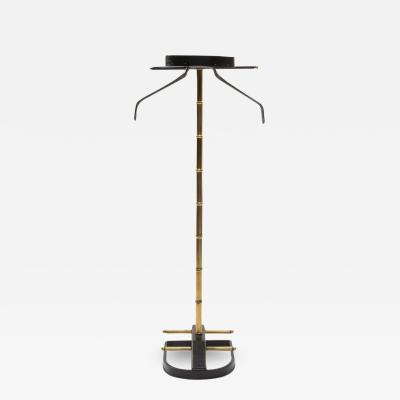 Jacques Adnet French Midcentury Valet Muet Jacques Adnet Steel Black Leather Brass