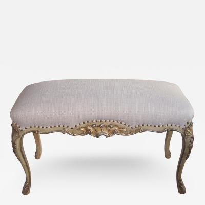 A Well Carved French Louis XV Style Painted Silver Gilt Bench