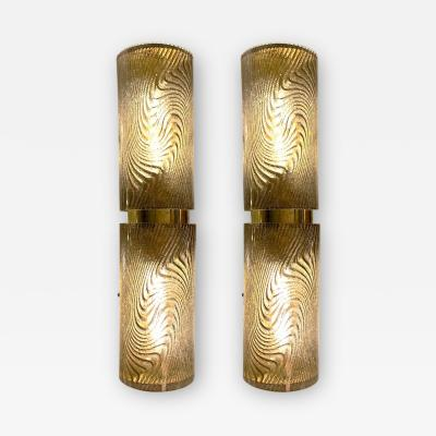 Cosulich Interiors Antiques Modern Italian Smoked Frosted Murano Glass and Brass Wall Ceiling Lights