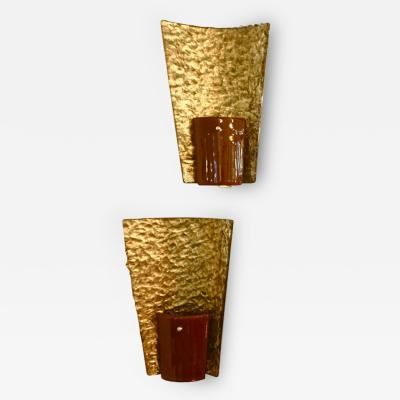 Contemporary Italian Pair of Gold and Amber Orange Murano Glass Organic Sconces