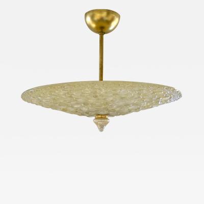 1960s Italian Ivory Flower Embossed Murano Glass Brass Flushmount Pendant