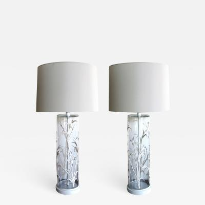 A unique American pair of cylindrical glass lamps with applied bamboo decoration