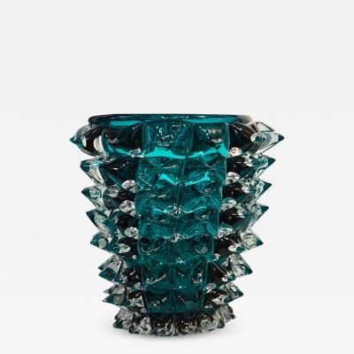 Sergio Costantini Costantini Italian Pair of Rostrato Blue Green Teal Murano Glass Modern Vases