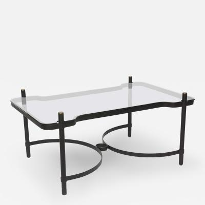 Jacques Adnet French Modern Iron Brass and Glass Low Table Jacques Adnet