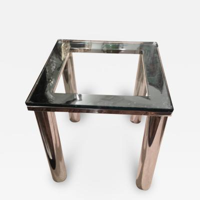 Milo Baughman Milo Baughman Polished Chrome Glass Small End Table