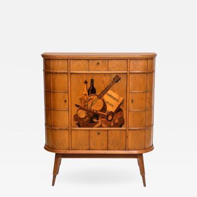 Luigi Scremin Italian Modern Ash Walnut Olivewood Mahogany Bar Cabinet Luigi Scremin
