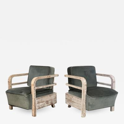 Pair French Limed Oak Lounge Chairs Attributed Pierre Jeannere