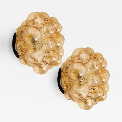 Helena Tynell Pair of Helena Tynell Amber Bubble Flush Mounts Wall Sconces 1960s