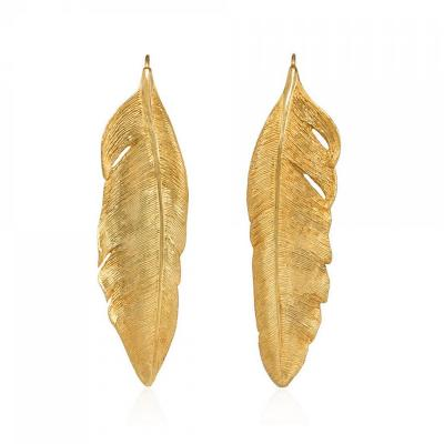 Angela Cummings Angela Cummings 1980s Textured Gold Feather Motif Earrings
