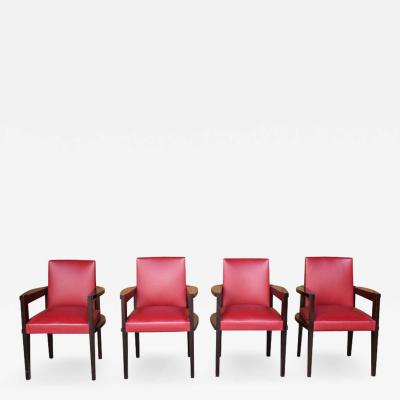 Andr Sornay 4 Fine French Art Deco Armchairs by Andre Sornay