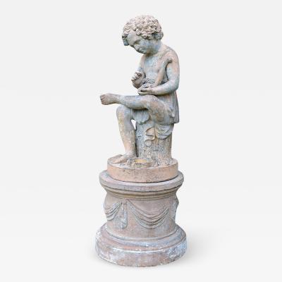 Terra cotta Figure of Eros and Pedestal