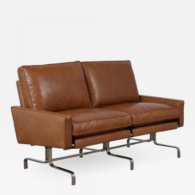 Leather Love Seat in the Manner of Paul Kjaerholm