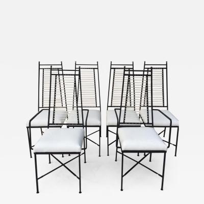 John Salterini Set of Six Salterini High Back Iron Bronze Top White Cord Dining Chairs