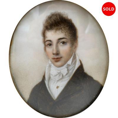 MINIATURE on IVORY PORTRAIT of GENTLEMAN
