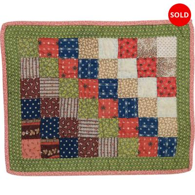 One Patch Straight Furrows Doll Quilt Circa 1880 Pennsylvania