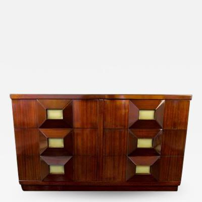 Andr Sornay French Modern Mahogany and Parchment 6 Drawer Chest Andre Sornay