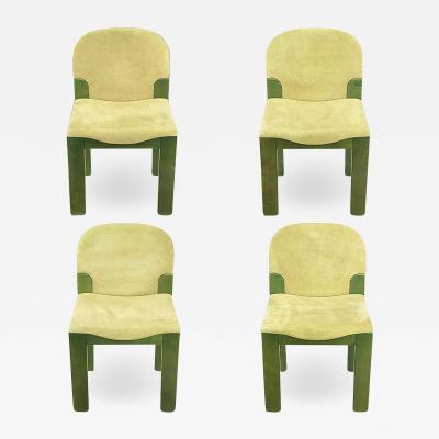 Ernesto Radaelli Four Dining Chairs in Dyed Green Oak and Suede Ernesto Radaelli for Saporiti