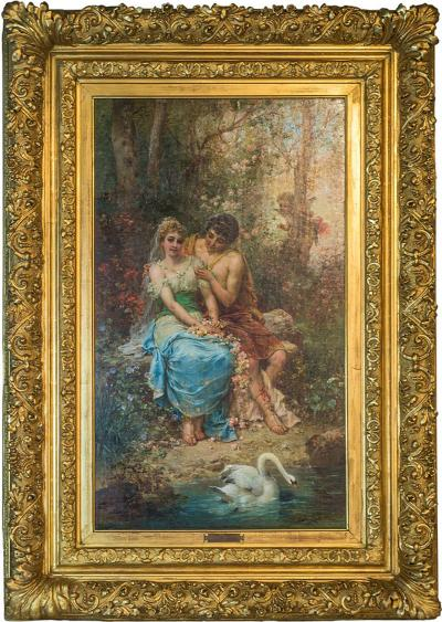 Hans Zatzka Fine Quality Austrian Painting of Two Maidens by the Pond