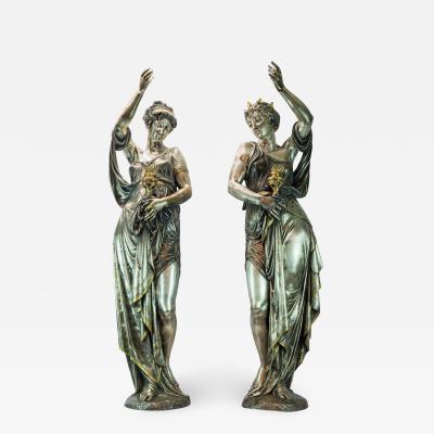 Albert Ernest Carrier Belleuse Pair of Highly Important Exposition Bronze Figural Torcheres on Pedestal