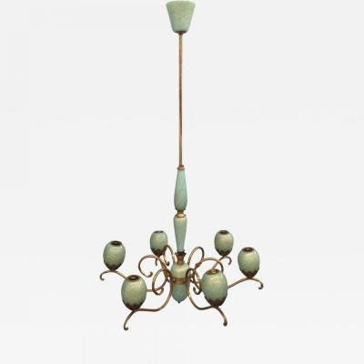 Seguso Charming brass and Murano glass chandelier