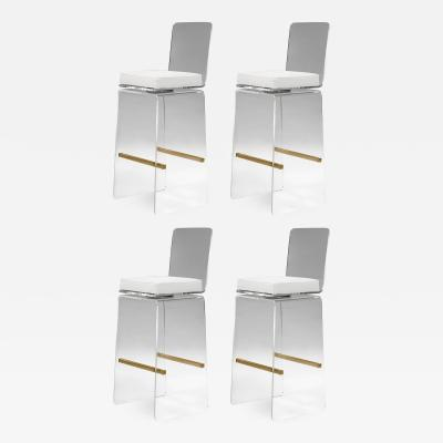 Charles Hollis Jones Set of Four Waterfall Bar Stools by Charles Hollis Jones