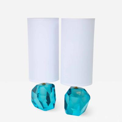 Alberto Dona Pair of Solid Blue Topaz or Aquamarine Jewel Murano Glass Lamps Italy Signed