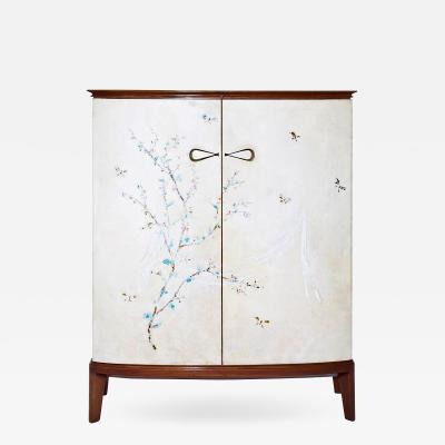 Arredamento Borsani Oswaldo Borsani Bar Cabinet art work by Lucio Fontana and Adriano Spilimbergo