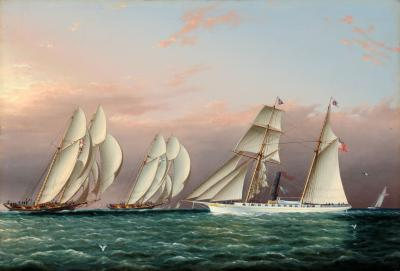 The Schooners DREADNOUGHT and COLUMBIA racing NYYC Sail Steam Yacht EMILY