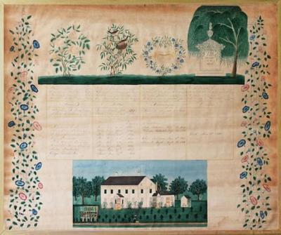 The Trowbridge Folk Art Paint Decorated Family Record c 1853