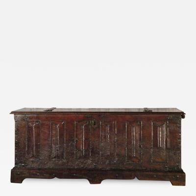 15th century French Medieval Walnut Bookfold Coffer