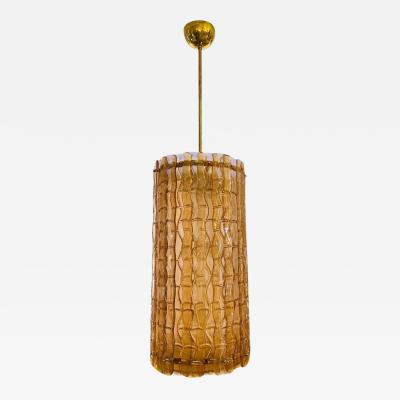Contemporary Italian Amber Crystal Murano Glass Tall Brass Lantern Chandelier