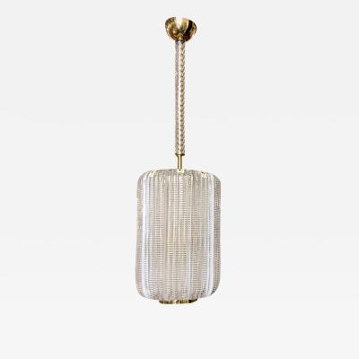Mazzega Murano 1980 Mazzega Italian Vintage Brass and Crystal Murano Glass Cylinder Lantern