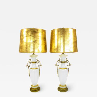 Chapman Manufacturing Company Pair of Neoclassical White Milk Glass Table Lamps with Brass Appliques c 1970s