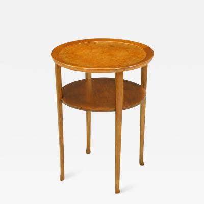 1940s Round Two Tier Maple Side Table With Buffalo Leather Inlay