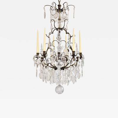 Antique French chandelier with candles and small lights style Louis XV