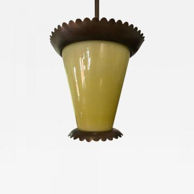 Fontana Arte Italian Midcentury Bronze and Murano Glass Pendant or Lantern by Fontana Arte