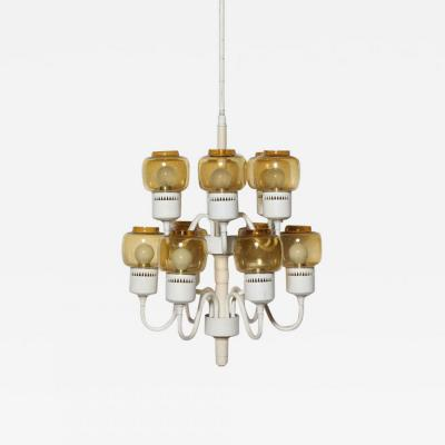 Hans Agne Jakobsson Hans Agne Jakobsson Two Tier Chandelier with 12 Amber Hurricane Glass Shades