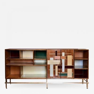 Vintage Wood Multi Color Murano Glass Brass Bookcase w Brass Iron Basement