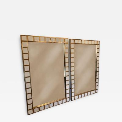 Late 20th Century Pair of Big Size Brass White Milk Murano Glass Wall Mirrors