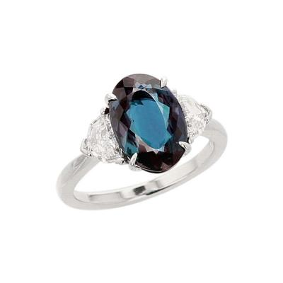 3 Carat Natural Brazilian Alexandrite and Diamond Three Stone Platinum Ring