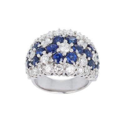 Floral Blue Sapphire and Diamond Cocktail Ring Platinum