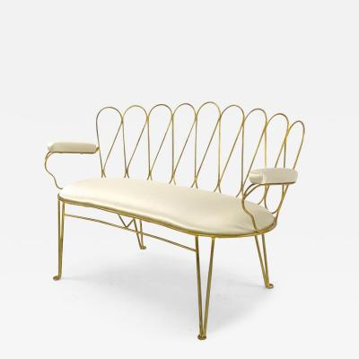 Rene Prou Rene Prou very refined gold leaf wrought iron settee