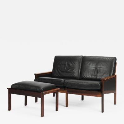 Illum Wikkels Capella two seater sofa leather rosewood Illum Wikkels