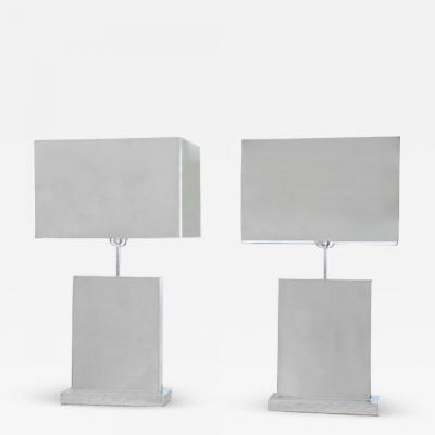 Curtis Jer Pair of Curtis Jere Polished Chrome Table Lamps